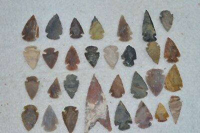 "30 PC Flint Arrowhead Ohio Collection Points 1-3"" Spear Bow Knife Hunting Blade"