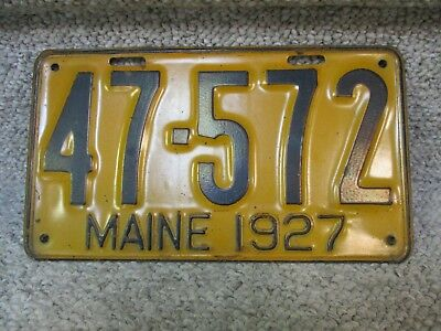 A+ 1927 Maine License Plate