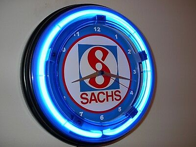 *** Sachs Motorcycle Snowmobile Garage Man Cave Blue Neon Wall Clock Sign