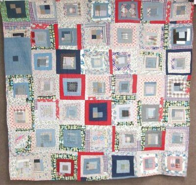 Abstract Folky c 1930s Log Cabin VINTAGE Quilt Boho Chic Early POP ART