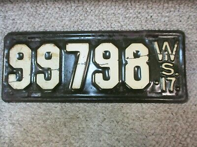 A+ 1917 Wisconsin License Plate