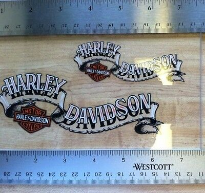 Pair Of Harley-Davidson Banner Window Decals.(inside). Harley Biker Stickers.