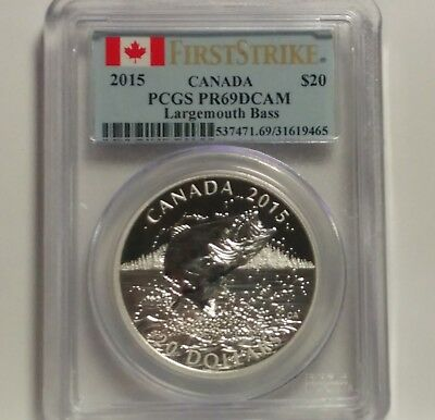 2015 Canada $20 Largemouth Bass Silver PCGS PR69 DCAM First Strike Coin
