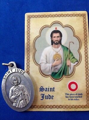 "St JUDE Large Saint Medal with Relic Holy Card Healing Medal-1-3/4"" Italy"