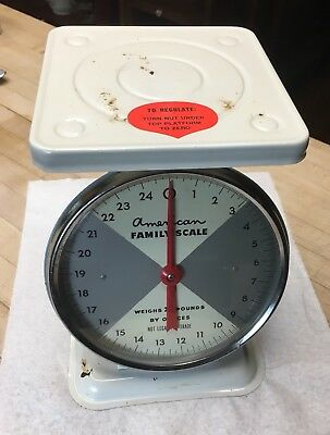 Vintage American Family 25 Pound Kitchen Scale W/ Box Glass Face
