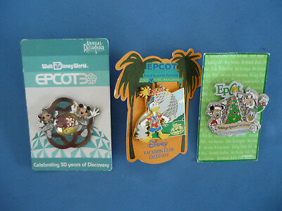 EPCOT  Exclusive  Disney set  Disney Pin LOT of 3  # 10  NEW on card