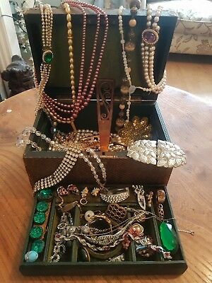 Antique Jewellery Box Filled With Antique And Vintage Costume Jewellery