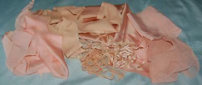 Antique Fabric Scraps Satin Silk Cotton Net Trim Flesh Restoration Dolls c1930s