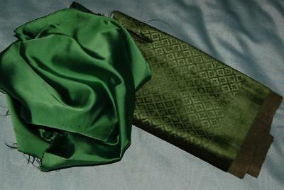 2 Scraps Vintage Fabric Embossed Velvet Satin Green Restoration Craft c1950-70s