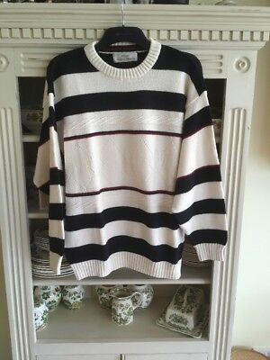 VINTAGE MENS MARKS AND SPENCER STRIPED COTTON  Jumper Cream Navy Maroon XL VGC