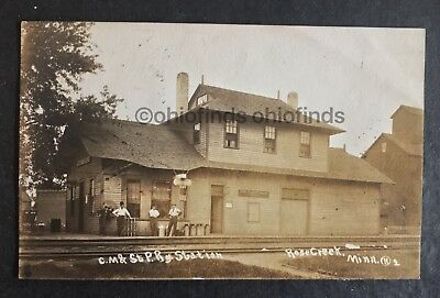 RPPC C M & ST Paul Railroad Station Depot Rose Creek MN Minnesota Postcard 1910