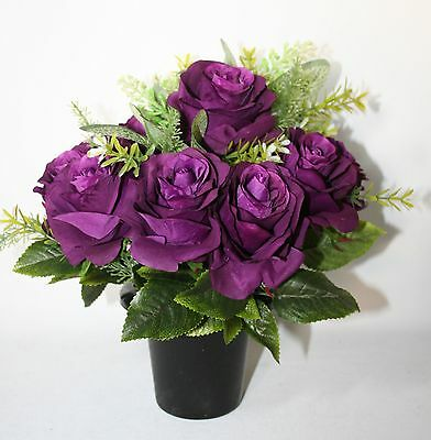 Artificial purple rose  Silk Flower Arrangement Cemetery Memorial Grave Pot Vase