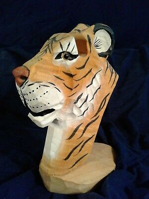 Peepers Eye Glass Holder Hand Carved Wooden TIGER Head with Glass Eyes