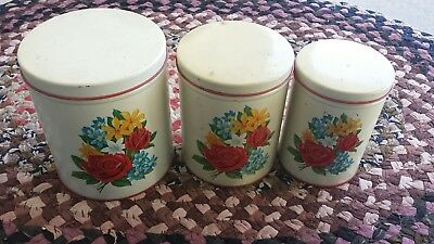 Vintage Metal Kitchen Canister Set of 3 Cream White Red Flowers 1940's to 1950's