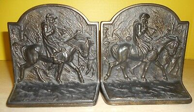 VTG HUBLEY GEORGE WASHINGTON On His Horse w/ Infantry Cast Iron BOOK ENDS