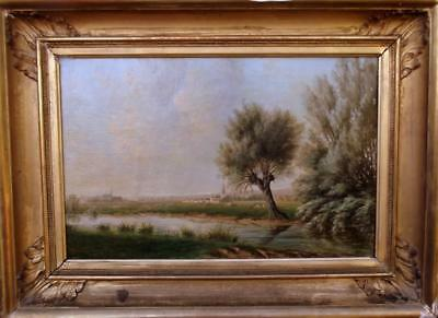 French Antique 19th Century Folk Pastoral PRIMITIVE Landscape Oil Painting c1870