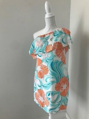 6c8278e95f Lilly Pulitzer White Teal   Orange Silk Tropical Print 1 Shoulder Dress ...