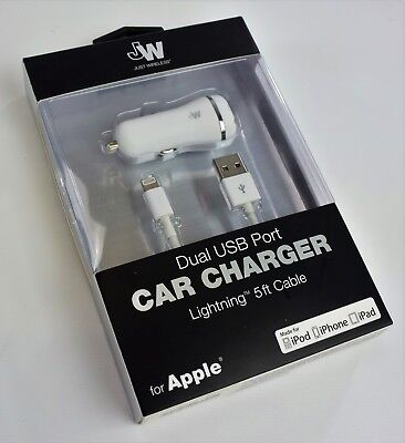 Just Wireless Dual USB Port Car Charger Lightning 5ft Cable for Apple NEW SEALED