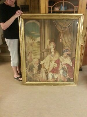 Large Berlin Wool-work in original gold leafed frame - Antique Embroidery