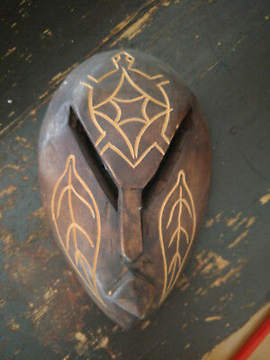 Wooden Tribal Mask Brown 9 Inches