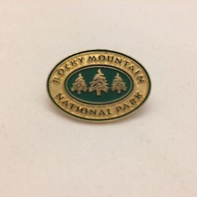 """Rocky Mountain National Park Lapel Pin Badge Gold Green - Oval 1"""" - Quick Ship!"""
