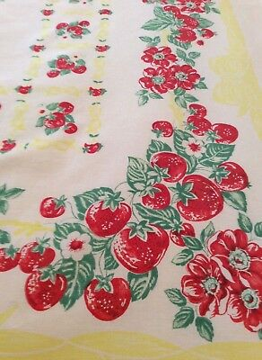 Sweet Vintage Tablecloth - Strawberries - Yellow Bows - Red Flowers