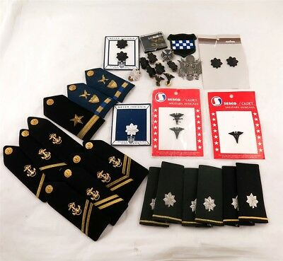 Lot of Vintage US Army & Navy Rank Badges, Shoulder Boards, & Pins
