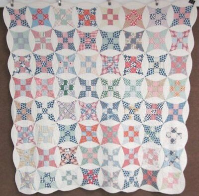 Cottage Feedsack c 30s Improved Nine Patch QUILT Vintage Lots of Blues!