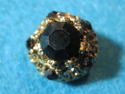 Vintage Pierced Brass Button with Black Glass