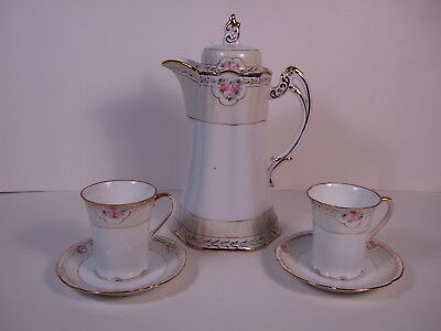 Vintage Beautiful hand Painted Nippon Chocolate Coffee Pot with cups and saucers
