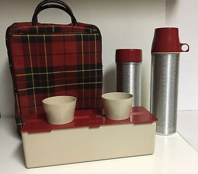 1950's Plaid Picnic Basket Bag Set ~ American THERMOS (2) Lunch Box & Cups~NICE