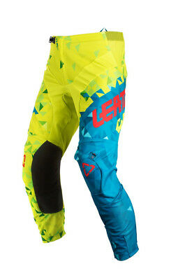 Leatt GPX 2.0 Precurved Youth MX Offroad Pants Lime/Teal MD