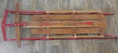 Vintage Red Sled Flexible Flyer 111 Wood And Metal For Snow Ride On