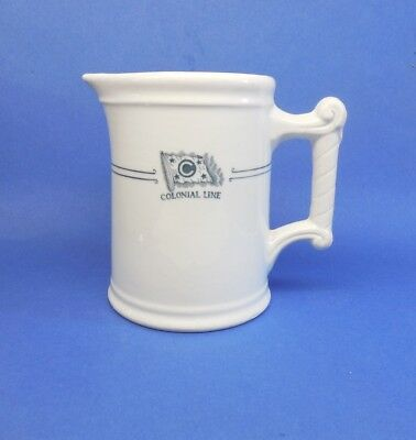 """rare Colonial Line Milk Pitcher. Heavy pottery, 6"""" high. Colonial Navigation Co."""