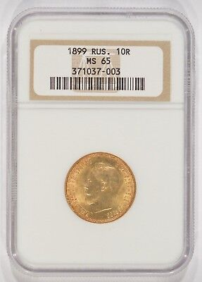 1899 Russia Gold 10 Roubles NGC MS65 371037-003