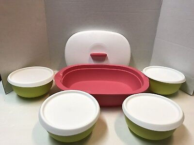 Tupperware Spring Blossom Oval Serving and set of 4 small bowls New!!