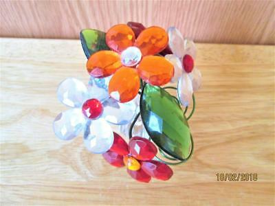 Pretty Bouquet Of Colorful Plastic Rhinestone Flowers In Vase Decoration