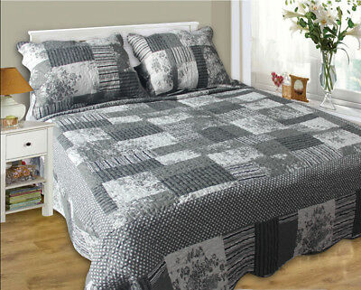 3pcs Quilted Bedspread Coverlet Throw Blanket -3pcs Queen Size
