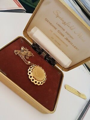 Springfield Mint Ltd. Ed. 14kt plated coin on 14ct necklace Queen Elizabeth II