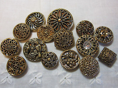 Nice Lot Of Vintage Gold Metal Twinkle/ Mirror Back Buttons
