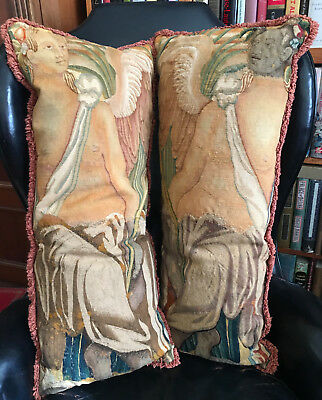 """17TH CENTURY ANTIQUE FLEMISH TAPESTRY PAIR of PILLOWS 33"""" X 15"""""""