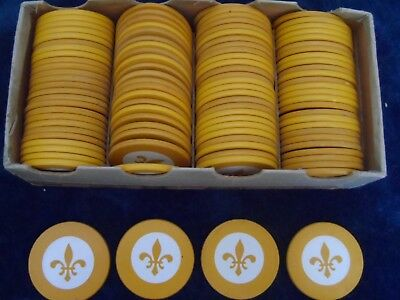 100 Vintage Paranoid Clay Poker Chips Inlay Fleur De Lis Yellow