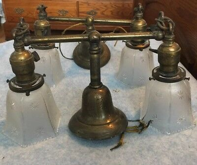 Pair Of Matching Antique Brass Double 2 Arm Light Shade Sconces All Original