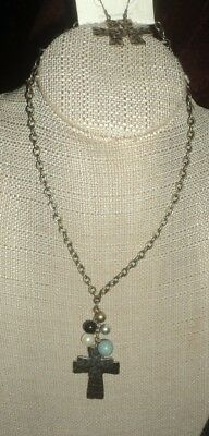 """22"""" gold tone faux pearl double cross swag pendant necklace matching pierced"""