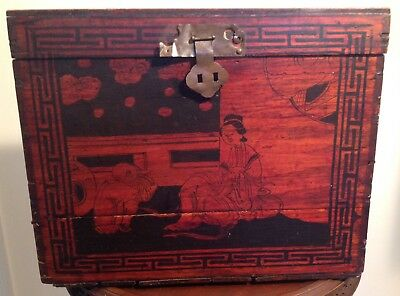 Antique Chinese Hand Painted Red Black Lacquer Wooden Box Dovetailed Handles
