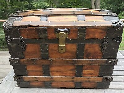Antique Refinished Dome Top Trunk 1880's Gorgeous Solid