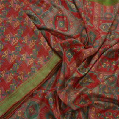 Sanskriti Antique Vintage Red Saree 100% Pure Silk Printed Craft Fabric 5Yd Sari