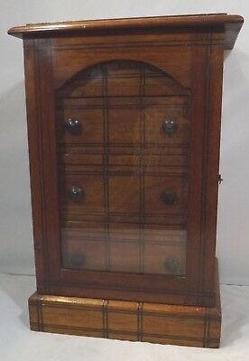 Antique Edwardian Inlaid Mahogany Miniature Collector's Jewellery Chest Box