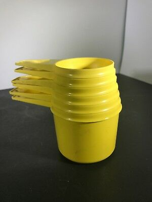 Vintage Tupperware Yellow 6 Piece Measuring Cup Set