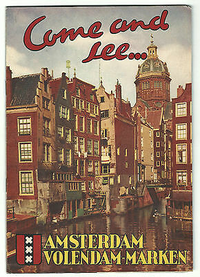 Old Promotional Tourist Picture Book Amsterdam Volendam Marken Netherlands